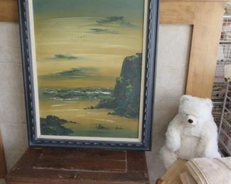 Antique tool chest and large oil painting.