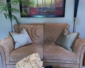 American Signature sofa, pair of lamps, large contemporary painting.