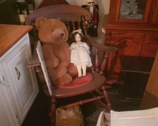 Rocking chair, Nutcracker, doll and teddy all sold separately