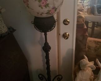 Floor lamp with a hand painted globe top
