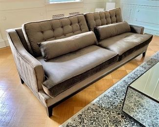 """$995 -  Z Gallerie velveteen two cushion sofa with tufted back. 36.5""""H x 98""""W x 34.5""""D. Height to seat is approximately 19""""."""