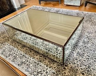 """$450 - Mirrored block coffee table with beveled mirrors. - 17""""H x 50""""L x 30""""W"""