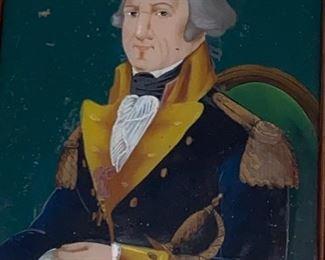 19th century reverse painting on glass of George Washington