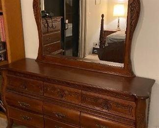 Cherry wood dresser with mirror
