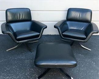 Rodolfo Dordini Minotti Blake-Soft lounge chairs & ottoman  Leather & chrome  Chair  Was $4000 each Now $3000 each  Ottoman  Was  $1500 Now $1000