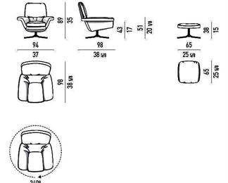 Specs for Minotti, Blake-Soft lounge chair & ottoman