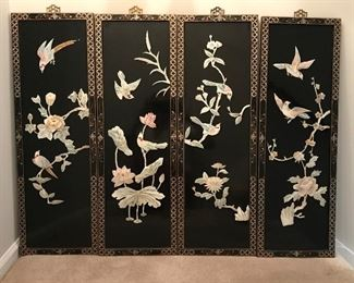 4 raised oriental lacquered panels