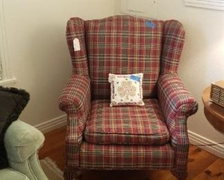 Traditional plaid wing chair
