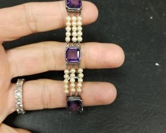 Victorian amethyst and seed pearl bracelet
