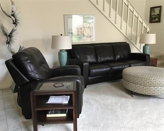 Bassett Leather Sofa and Matching Recliner