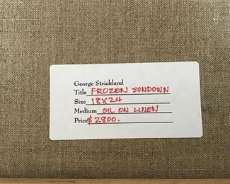 Original tag on back of oil painting