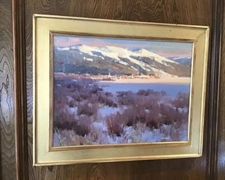Frozen Sundown Colorado Mountains Oil on Linen by Strickland  with documentation