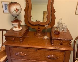 Multi drawer East Lake Style Dresser. With nice mirror.