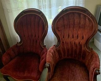 Victorian style male and female design chairs