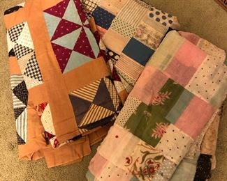 Various colored quilt tops