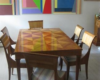 """Stunning Baker Egyptian Model Dining Room Suite Table 20"""" Wide with 3 Extra Leaves with 6 chairs & Buffet"""