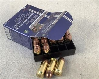 Mfg - (20)*Lead Free* Fiocchi Model - Blue Guardian 45 Auto Caliber - Ammo Located in Chattanooga, TN Condition - 1 - New This lot contains one 20 round box of *Lead Free* Fiocchi Blue Guardian Specialized Defensive Reduced Ricochet 45 Auto ammunition. 155 grain, reduced ricochet hollow point bullet.