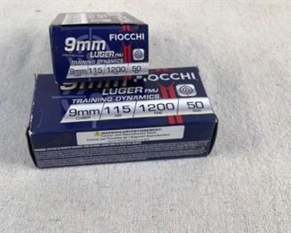 Mfg - (2 times the bid)Fiocchi Model - 115gr 9mm Luger FMJ Caliber - Ammo Located in Chattanooga, TN Condition - 1 - New This is a 2 times the bid lot on two 50 count boxes of Fiocchi 115 grain 9mm Luger FMJ ammo, ideal for use at the range.