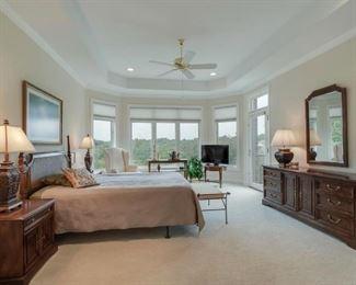 Queen bed has sleep number mattress, dresser, mirror and two nightstands.  Drexel