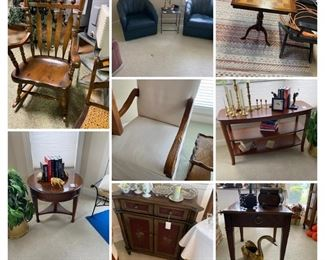 rocker, game table, round table, cabinet, Drexel end table (2 available)