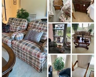 Century chairs, cute little table, cabinet, baker's rack, cocktail table, matching blue leather chairs, accent chair