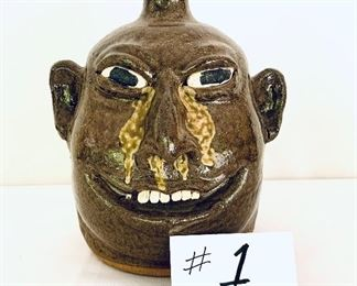 """LANIERS MEADERS SIGNED FACE JUG 9"""" Tall.   $1,200"""
