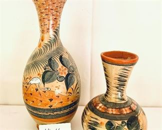 """MEXICAN POTTERY  A- 16"""" T.   Chipped see photo. $105 B- 10"""" T.     $ $75"""