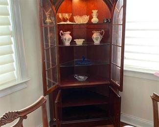 "7- $375 Pennsylvania House Corner Cabinet with light 41""W x 2'D x 80""T"