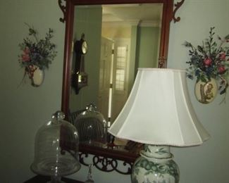 ORNATE WOODEN MIRROR AND LAMP
