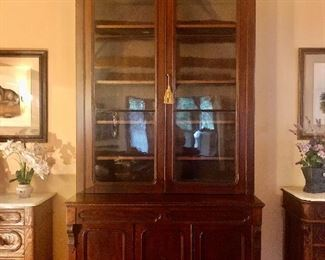 """Renaissance Walnut Bookcase with Arched Glass Doors over Two Drawers.  9'9"""" Tall"""