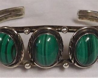 Sterling Malachite Cuff Bracelet