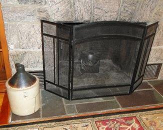Fireplace screen and Jug/crock