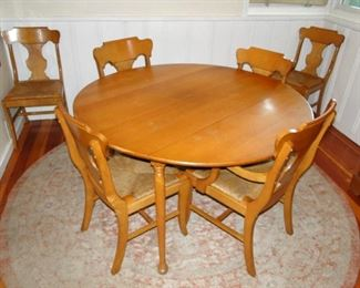 Maple Dining Room Table and 6 chairs table has two leaves inside