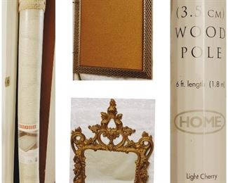 1 Two tone soft beige rug•1 Wall Hanging Frame•1 Victorian Brass Wall Hanging Mirror•1 light cherry wood pole
