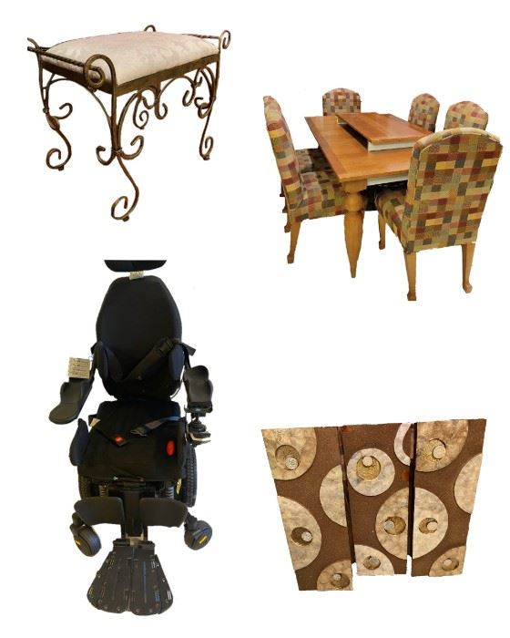 Victorian Vanity Chair/Ottomon•Dining Table/Chairs•HighTech Elect. Mobility Wheel Chair•Wall Hanging Panel Decor.