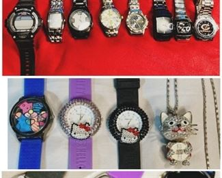 1st Row: 8 branded watches 2nd Row: 1 Britto Style Watch, 2 Hello Kitty Watches, 1 Crystal Cat Pendant/Necklace 3rd Row: Photo only to view back cases of the 2nd row watches
