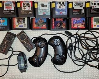 Sega Game System includes: 6 Sega Sports Games,6 Sega Geneses Games, 2 different sets of Sega remote controls + cables
