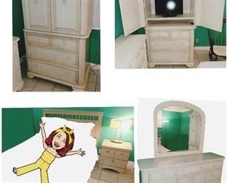 Queen Bedroom set:  1 Queen size Headboard/Rails, 1 Night stand, 1 TV Armoire, 1 Bedroom Lamp ▪︎TV NOT INCLUDED▪︎