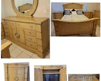 Contemporary Queen Bedroom set: 2 night stands, 1 TV Armoire, 1 dresser/mirror, 1 Queen size Headboard/Footboard/Rail▪︎TV NOT INCLUDED▪︎