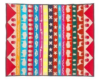 "Vintage colorful Beaver State blanket, wool, Southwestern theme 78.5""w x 64""d"