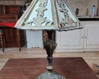 #2036 • Metal Lamp and Lampshade approx 22' tall