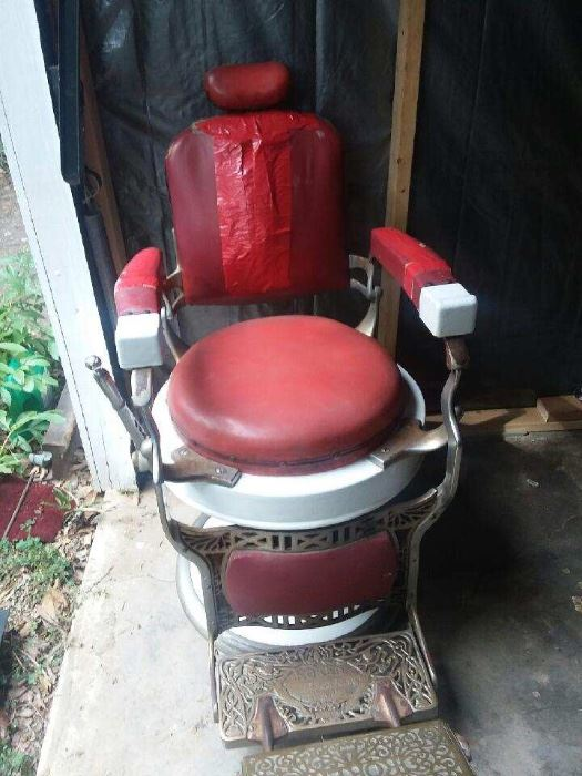 1920's Koken Barber Chair with Rare Round Seat! Mechanical works!!