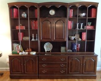 """Ethan Allen 6 piece bookcase with drawers and cabinets, 6'5"""" tall, 16"""" deep, each section 30"""" wide"""