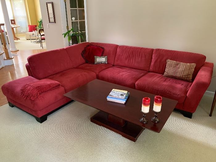 Bernhardt coffee table, red sectional sofa