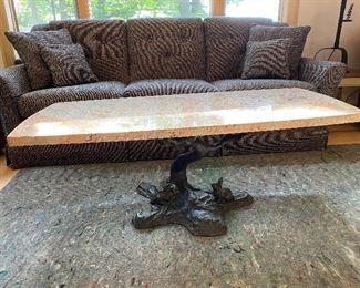 Super neat granite top, cast iron bottom coffee table- custom made