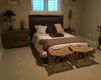 Wall mounted padded head board, canned and rattan benches and other global treats