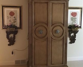Beautiful armoire, pair of brackets or sconces and botanical prints