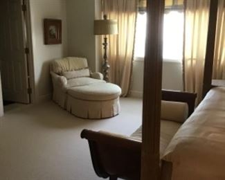 Second Floor Guest Room Is Finely Appointed With Two Piece Chaise, Henredon Bench, Armoire and Art!