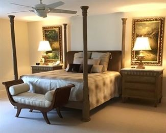 Second Floor Guest Bedroom Appointed With Beautiful Furnishings Including Oversized  Night Stands, Art, Two Piece Chaise and the bench by Henredon