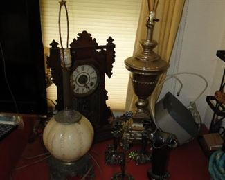 Lamps and vintage Clock